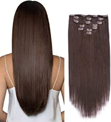 "14"" Clip in Hair Extensions Remy Human Hair BEEOS HAIR Double Weft Dark Brown 2# 7pieces 100gram/3.5oz"