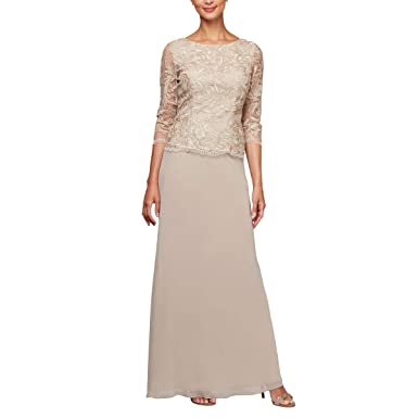 f9111cbac8 Alex Evenings Women s Long Mock Dress with Full Skirt (Petite and Regular  Sizes) at Amazon Women s Clothing store