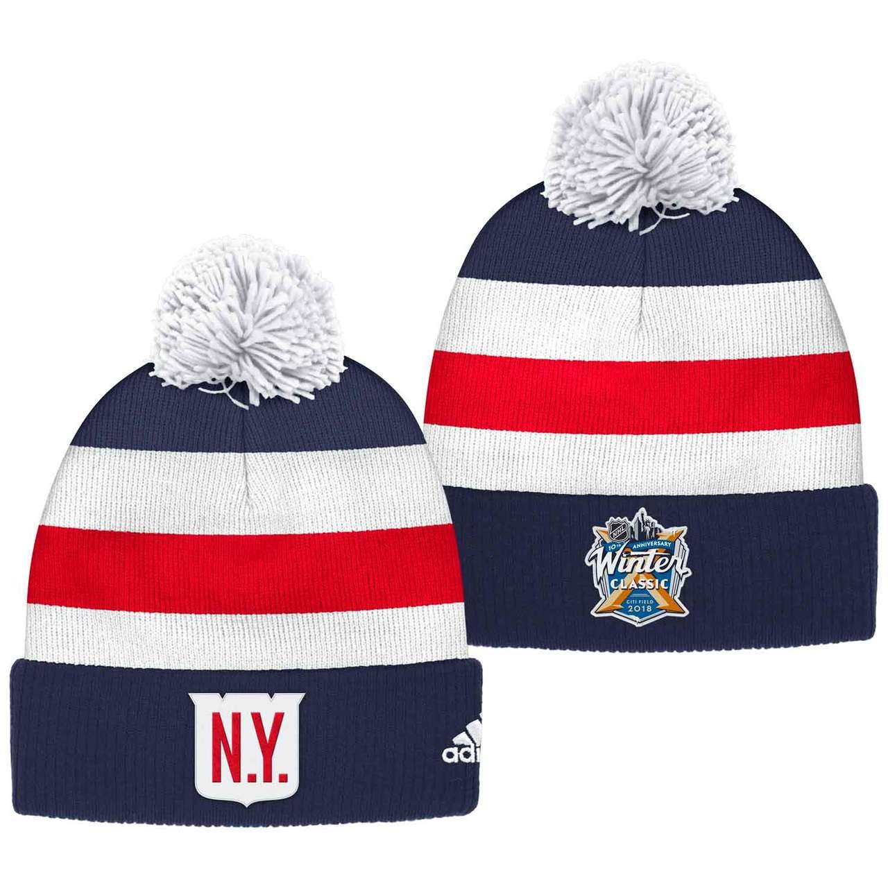 Amazon.com   New York Rangers 2018 Winter Classic Cuffed Pom Knit Players  Adidas Hat   Sports   Outdoors a4f6d73055a