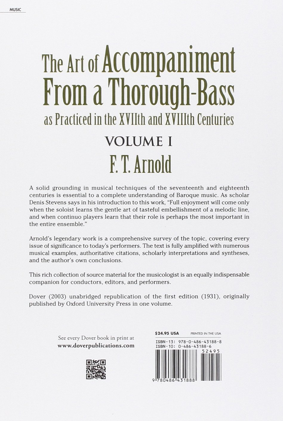 The Art Of Accompaniment From A Thoroughbass: As Practiced In The Xvii And  Xviii Centuries, Volume I (dover Books On Music): F T Arnold:  9780486431888:
