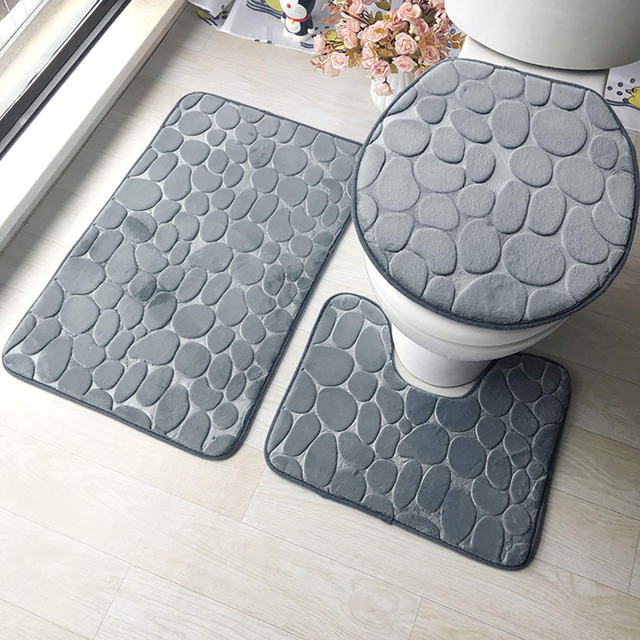 JMsDream 3PCS Toilet Carpet Mats Seat Cushion Cover Doormat Absorbent Flannel Embossing Bathroom Non-slip