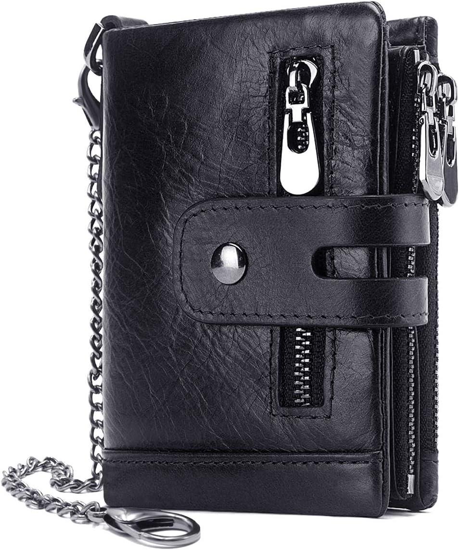 RFID da Uomo in Pelle Portafoglio Con ID Card Multi Tasca Regalo Zip Intorno Purse UK