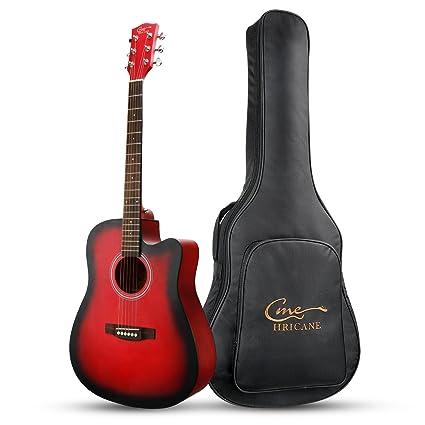 "fb332181a6f Hricane Acoustic Guitar 41"" Full Size Cutaway Steel String Folk Guitar  for Beginners, Adults"