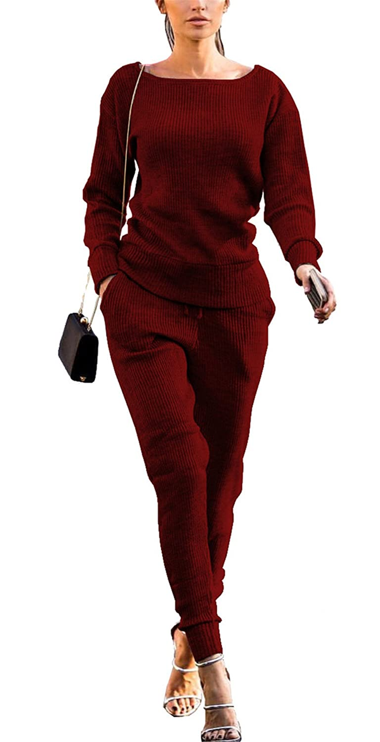 Womens Casual Fall 2pcs Outfit Set Solid Pullover Shirt + Pant Set Sports Suit