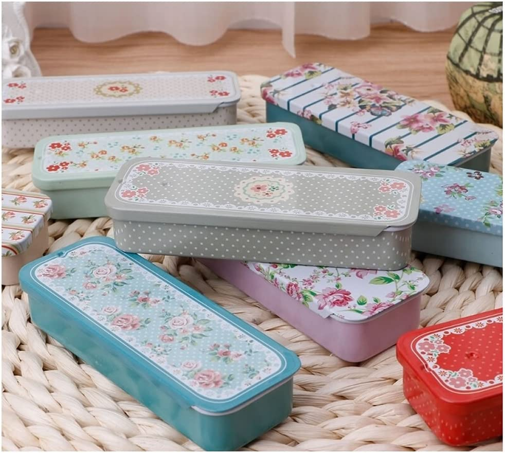 RAYNAG 8 Pack Mini Metal Slide Top Tin Containers Portable Box for Crafts Storage,Random Pattern