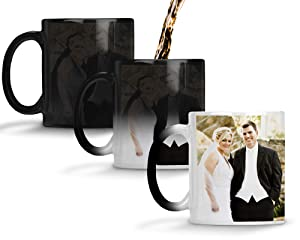 Custom Personalized Heat Sensitive Color Changing Coffee Mug Add 2 Images 1 to each side Custom image Mug Changes to Blank when Cold and Image shows when Hot | No Minimums | 11 Ounce Custom Coffee Mug