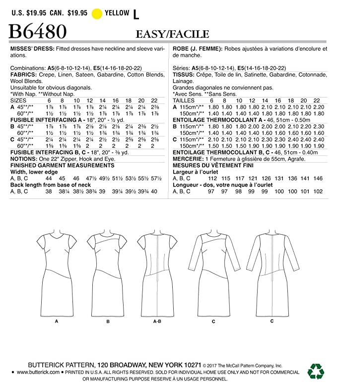 Butterick 6480 Sewing Pattern to MAKE Dresses w//Hip Detail Neck and Sleeve Vari