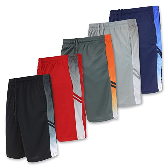 Men's Active Athletic Basketball Essentials Gym Workout Shorts with Pockets - Set 1-5 Pack, S
