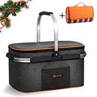 ALLCAMP Picnic Basket for 4 Person Insulated up to 4 Hours for Camping Outdoor Concert Sports Event (Gray)