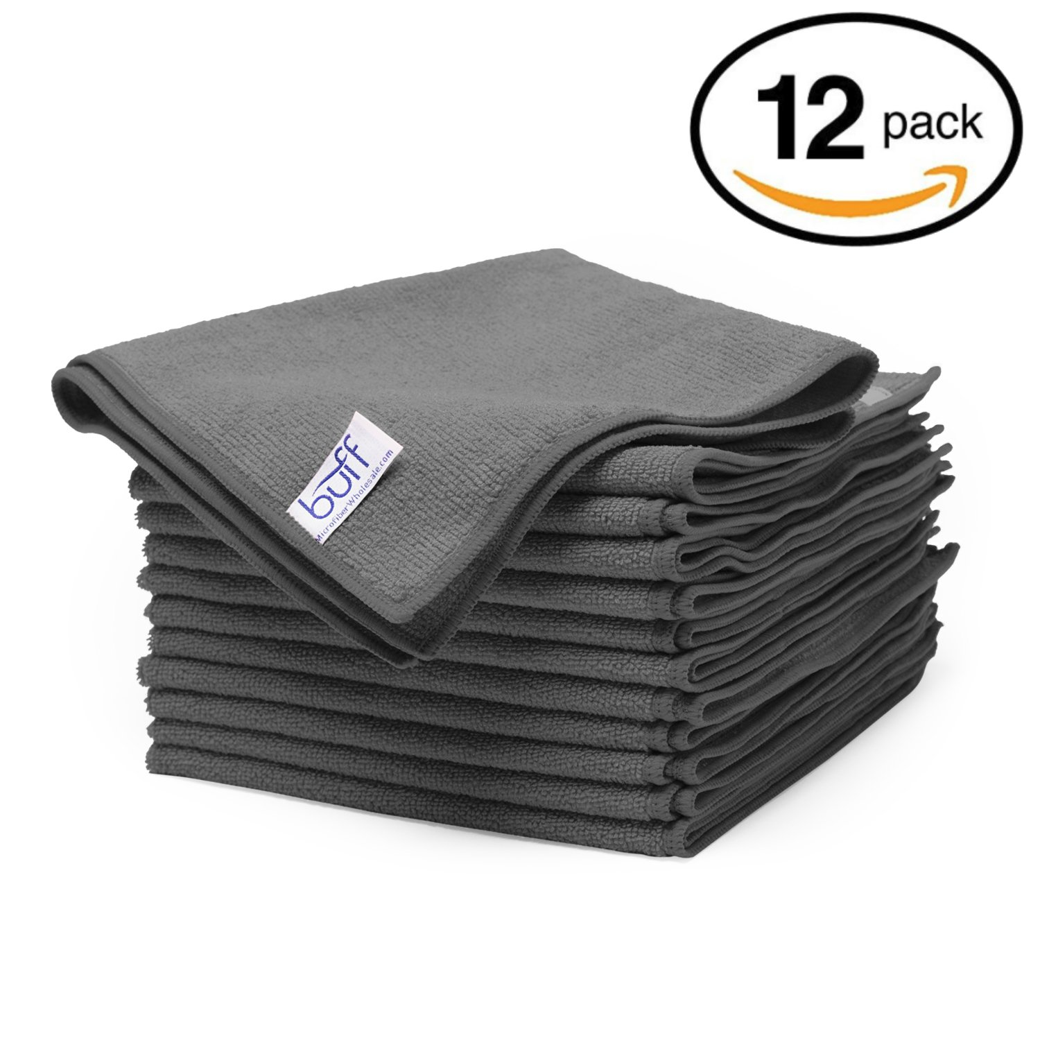 "Gray Microfiber Cleaning Cloths | Best Towels for Dusting, Scrubbing, Polishing, Absorbing | Large 16"" x 16"" Buff Pro Multi-Surface Microfiber Towel(Grey) - 12 Pack"