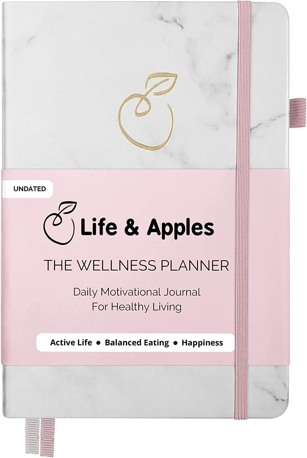 Life & Apples Wellness Planner - Food Journal and Fitness Diary with Daily Gratitude and Meal Planner for Healthy Living - Track Weight Loss Diet and Achieve Health Goals - Undated, Marble