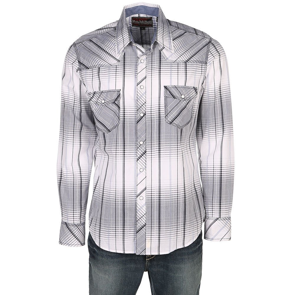 Rock Roll Cowboy Mens And White Crinkle Washed Plaid Long Sleeve