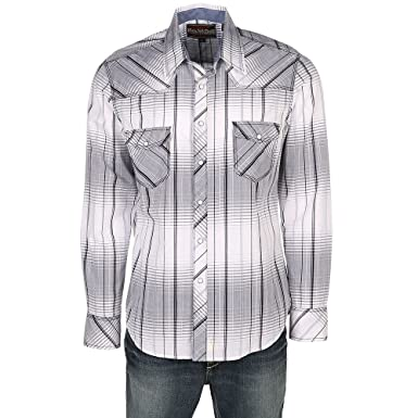 Rock Roll Cowboy Men S And White Crinkle Washed Plaid Long Sleeve
