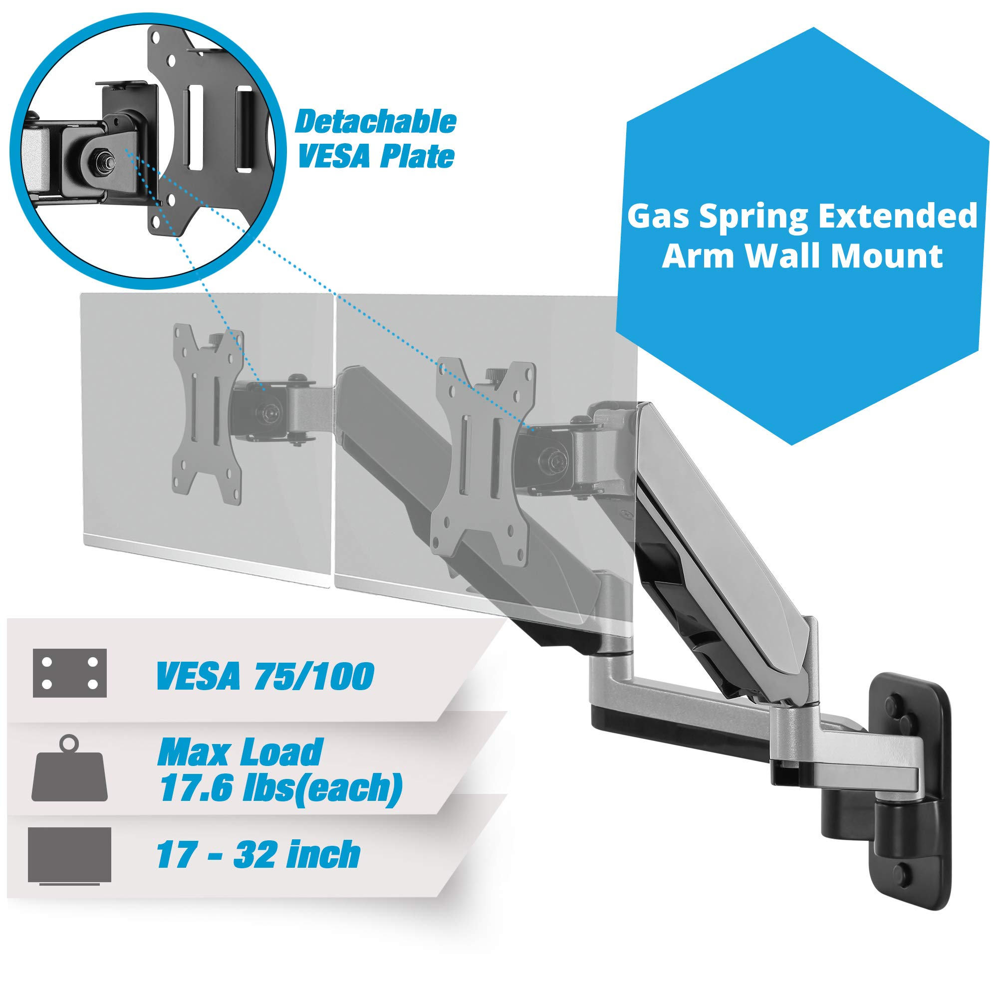 AVLT-Power Aluminum Dual Gas Spring Monitor Wall Mount with Dual Extended Arm - Ergonomic Fully Adjustable, Smoothly Heavy Duty Holds two 17'' to 32'' Screens, Up to 17.6lbs Each, VESA 75x75 / 100x100mm