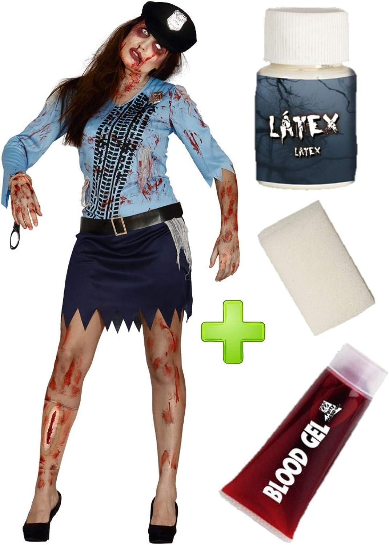 Disfraz de Poli Zombie chica con set de caracterizacion: Amazon.es ...