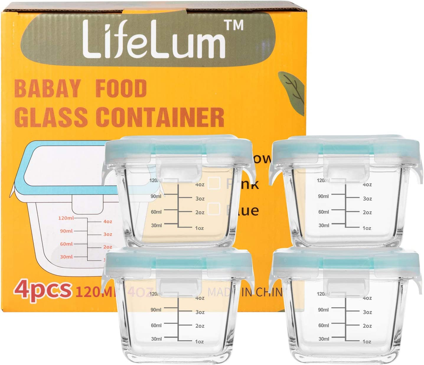 Baby Glass Food Containers jars Storage set with sealing Lids 4 Pack 5.4oz 120ml/4oz capacity Food Storage Containers with Lids - Plastic Food Containers with Lid (Blue)