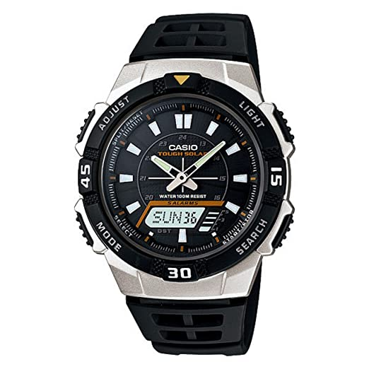 Casio Watch Band AQ-S800 Black Rubber Strap Watchband for Tough Solar 5 Alarm
