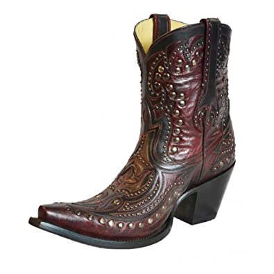 Boots G1075 Wine and Black Short Top Inlay and Studs