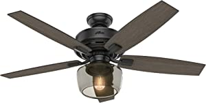 Hunter Indoor Ceiling Fan with light and remote control - Bennett 52 inch, Black, 54187