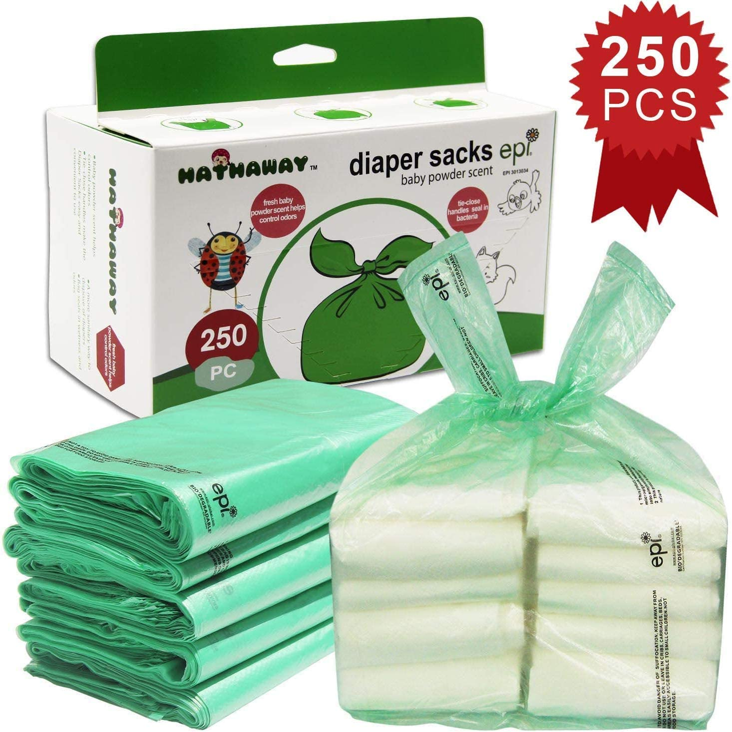 Lot de 250 sacs /à couches jetables avec parfum poudre de b/éb/é
