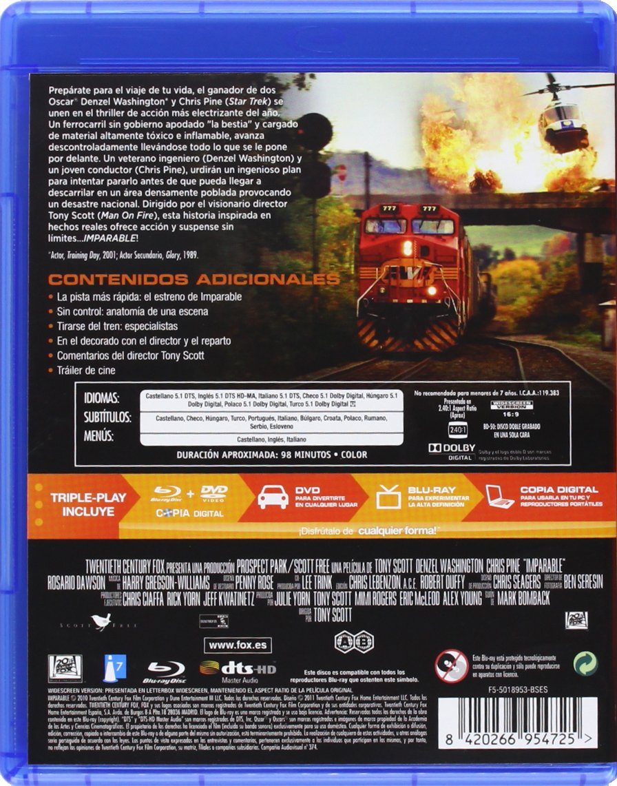 Amazon.com: Imparable (Combo Dvd + Br) (Blu-Ray) (Import Movie) (European Format - Zone B2) (2011) Denzel Washington; Chri: Movies & TV