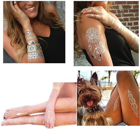 JZK® 10 Hojas Tatuajes temporales, Surtido metálico Destello ...