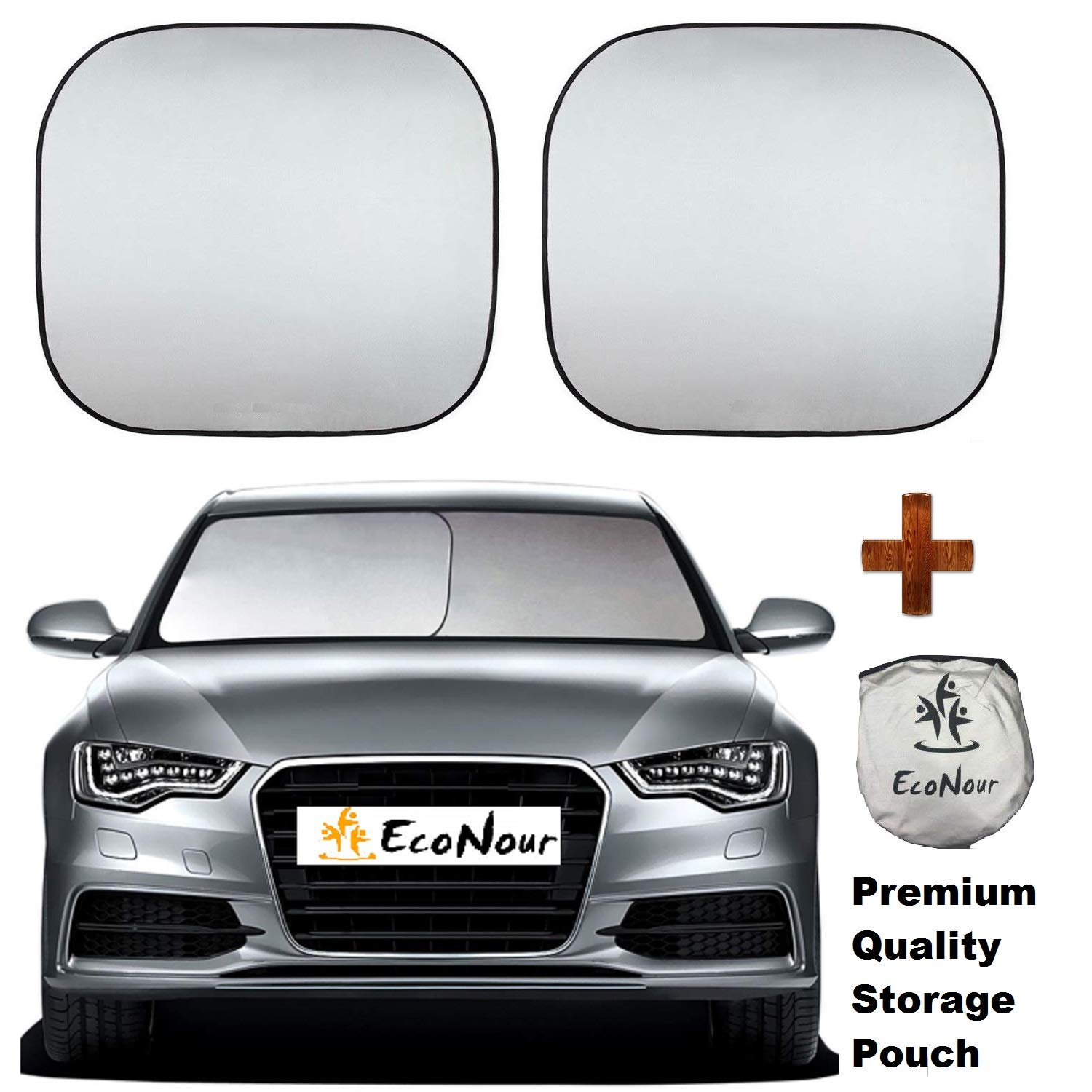 EcoNour Premium Car Windshield Sunshade-Universal Fit for Car, SUV, Van,Truck-. 210T Nylon Material- Heat and Sun Reflector