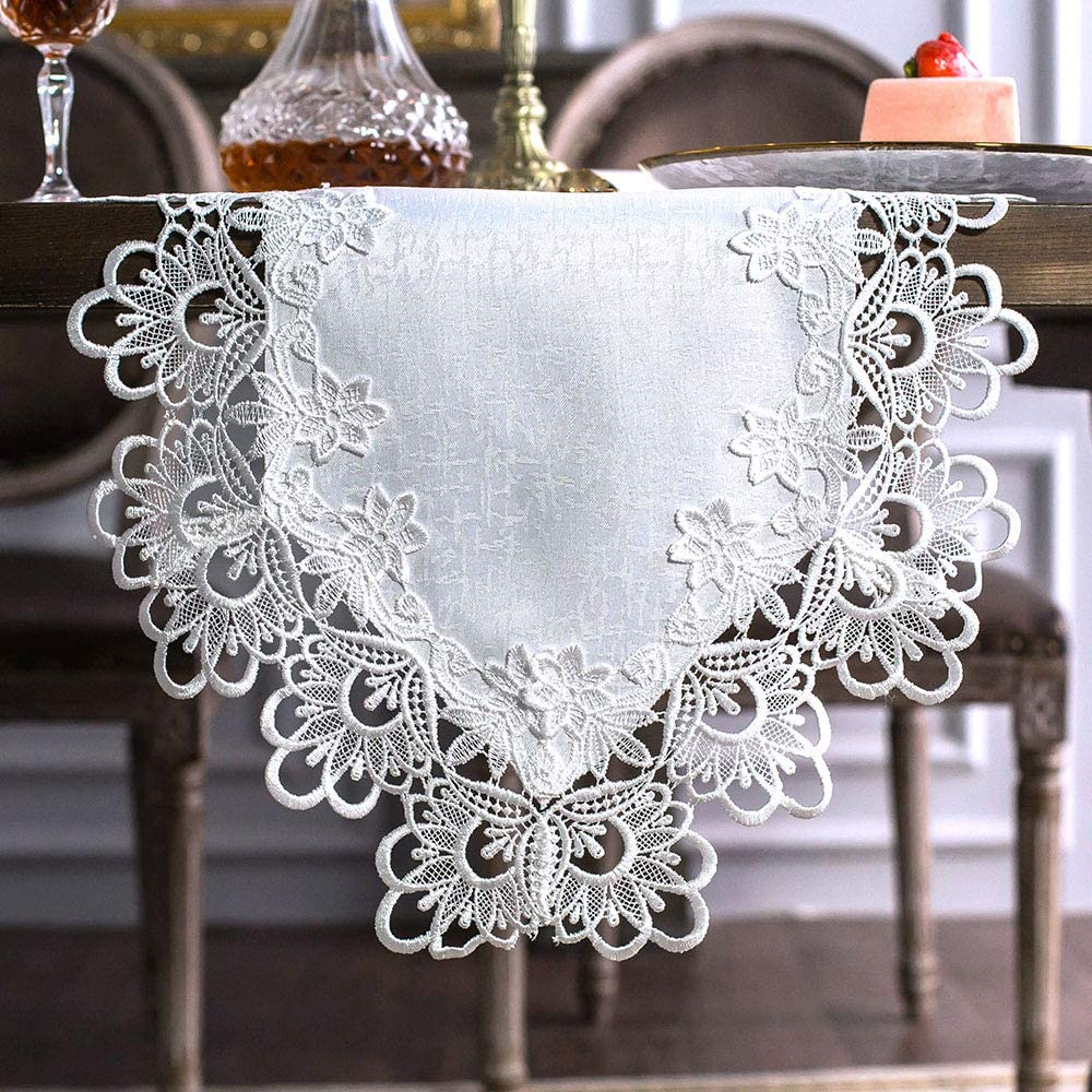 ARTABLE Rectangle Fabric Lace Table Runner Table Runners with Exquisite Macrame Embroidery for Bridal Shower Wedding Party Decorations Long Dinner Tables (White, Table Runner 16