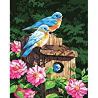ADanie DIY Oil Painting Paint by Number Kits Birds and Flowerfor Adult Beginners Kids 16*20 inch (No Frame)