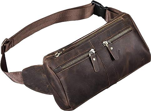 Men Real Leather Waist Bag Fanny Bum Pack Shoulder Bag Travel Messenger Bag