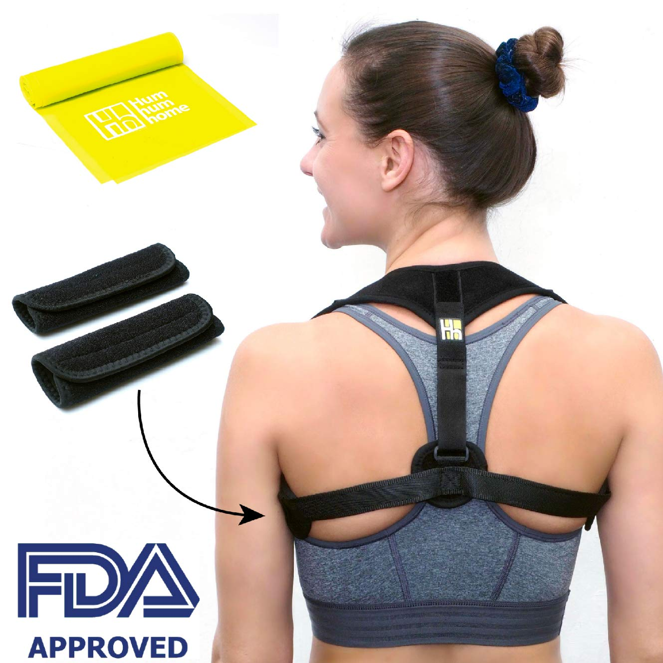 3b82d6b70 Amazon.com  Hum hum home Posture Corrector for Men and Women - Effective Upper  Back Clavicle Chest Support Device for Thoracic Kyphosis - Shoulder and  Neck ...