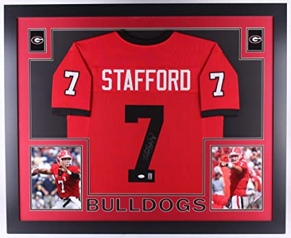 3f6cdbe2403 Image Unavailable. Image not available for. Color: Matthew Stafford Signed  Georgia Bulldogs 35x43 Custom Framed Jersey (JSA COA)