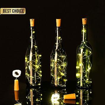 Luces Led Pilas,LED Lámpara de Botella para Navidad,DIY Decoración Navideña Botella Guirnalda de Luz - HaoXuan