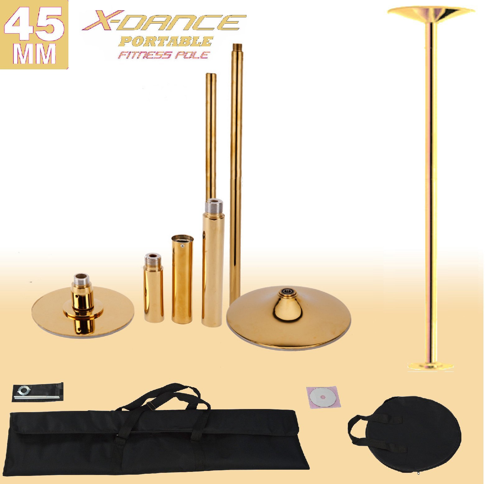 X-Dance (TM) 45 mm Professional Exotic Fitness Removable Pole Dance Fitness CHROME GOLD, 2 Black Portable Carry Bags Included, Dancing Spinning Pole …