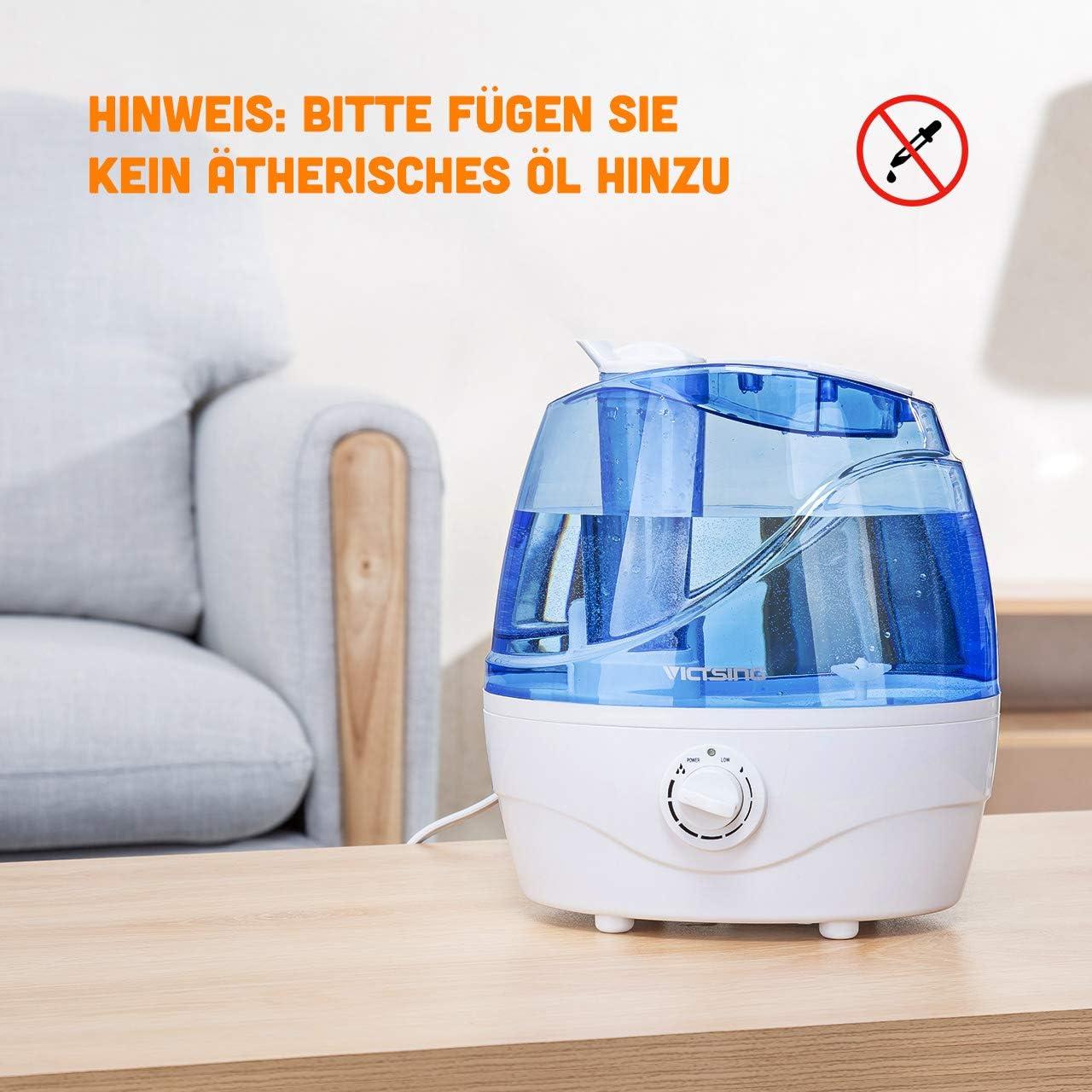 Ultraschall-Luftbefeuchter mit 360/°drehbare Dampfd/üsen Raumbefeuchter 2L,Blau VicTsing Luftbefeuchter Leise Baby Humidifier f/ür Schlaf-Haus Effiziente Nebelausgabe bis 25m/²