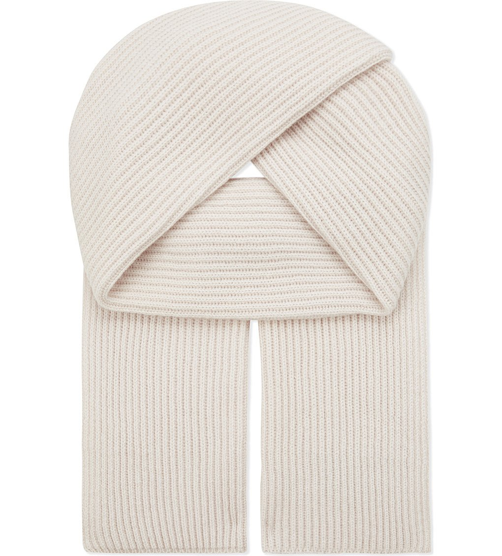 Graham Cashmere Unisex Pure Scottish Cashmere Chunky Ribbed Knit Scarf White
