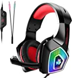 Gaming Headset,Tenswall PS4 Gaming Headset for PC,Xbox One,Nintendo Switch,Laptop,Tablet,Mobile,Hunterspider Series,with Mic LED Light Over-Ear Surround Sound Noise Cancelling & Volume Control-Red