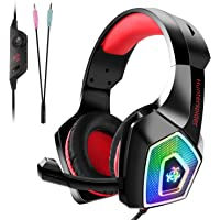 Auriculares Gaming Premium para PS4, PC, Xbox One, Cascos Gaming con LED, Auriculares de diadema Adjustables con Micrófono y control de volumen, Bass Surround y Cancelación de Ruido