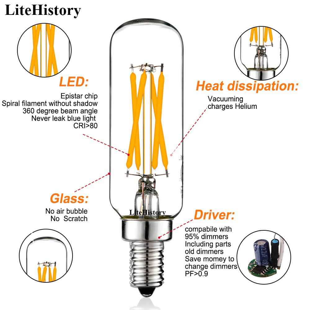 Litehistory Deep Dimmable 4w T6 T8 T25 Led Filament Bulbsedison Leviton 6633 P Wiring Diagram Vintage Tubularetle12 Candelabra Light Bulb400lm40w Equivalentwarm White 2700k