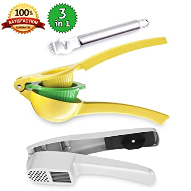 Stainless Steel Lemon Squeezer with Peeler- Manual Citrus Press Juicer with Garlic Slicer Grater | Dishwasher Safe Handheld Lime and Garlic Press