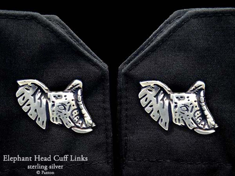 Elephant Head Cuff Links in Solid Sterling Silver Hand Carved & Cast by Paxton