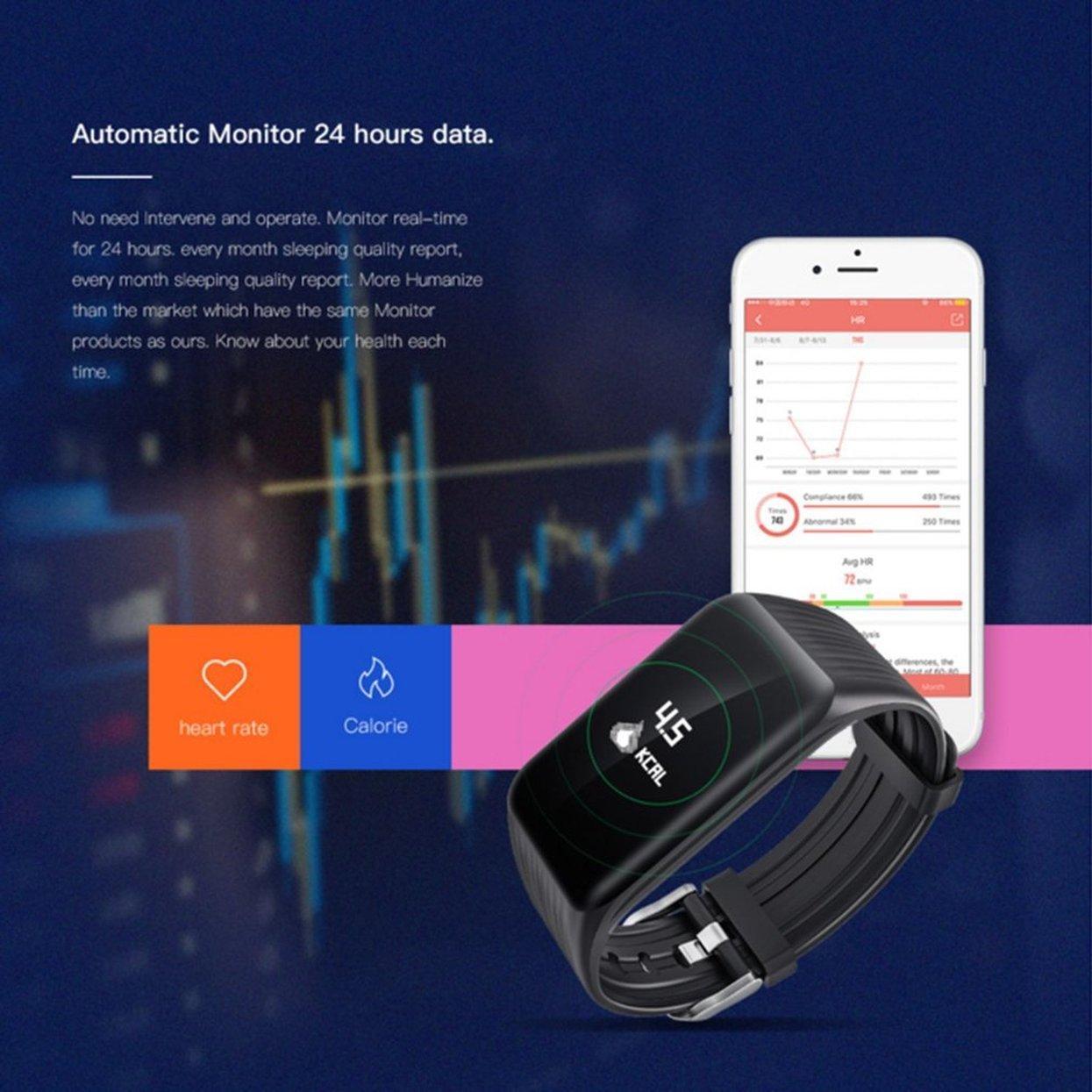 LoveOlvidoE Pulsera Elegante de Moda Reloj Inteligente con Bluetooth Reloj Impermeable a Prueba de Agua K1 Smartwatch Reloj de Ritmo cardíaco Ligero: ...