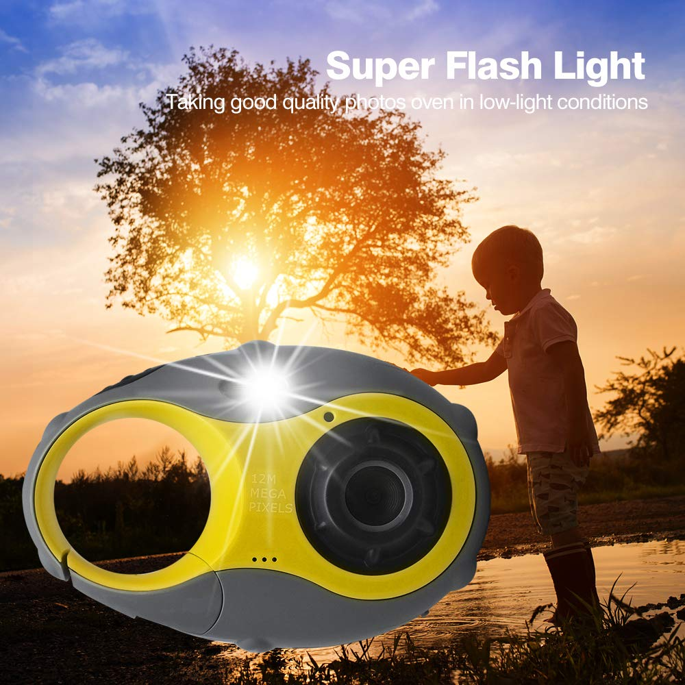 ISHARE Kids Camera Cute Camera 12MP 4× Digital Zoom Digital Camera with Video, Mini Kids Camera with Photo Frame for Girls and Boys, (Yellow) by ISHARE (Image #5)