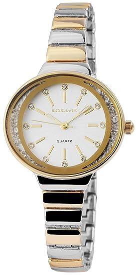 Reloj mujer Blanco Plata Rosè Oro Analog brillantes metal Reloj de pulsera
