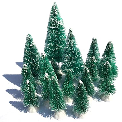 Mini Snow Globe Christmas Trees Tabletop Fake Bottle Brush Decor Craft Christmas Village Flocked Pine Trees Party Decoration Diy Accessories Up To