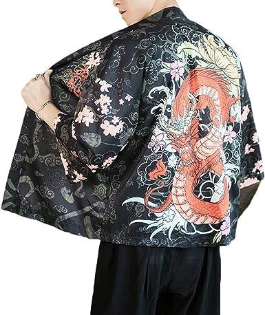 ZhuiKunA Hombre Mujer Camisa Kimono Estilo Japonés Estampado Holgado Cloak Cardigan 3 M: Amazon.es: Ropa y accesorios