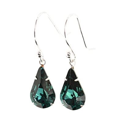 725f8ee0e Dangle and drop earrings for women made with sparkling teardrop Emerald  Green crystal from Swarovski®