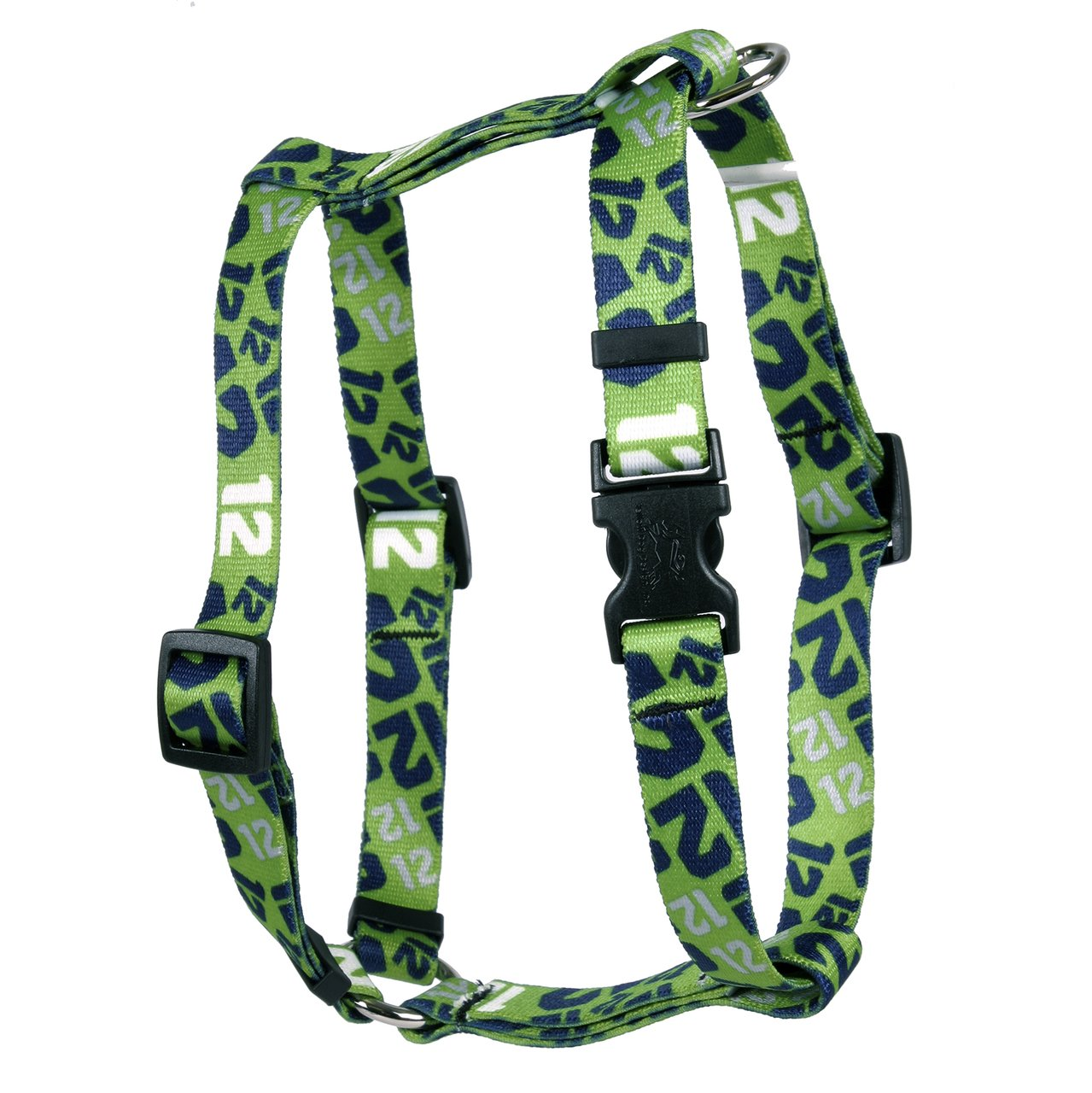 Extra Large 28\ Yellow Dog Design 12th Dog Green Roman Style H Dog Harness, X-Large 1  Wide