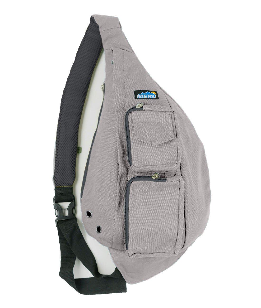 Meru Sling Backpack Bag - Small Single Strap Crossbody Pack for Women and Men (Light Gray)
