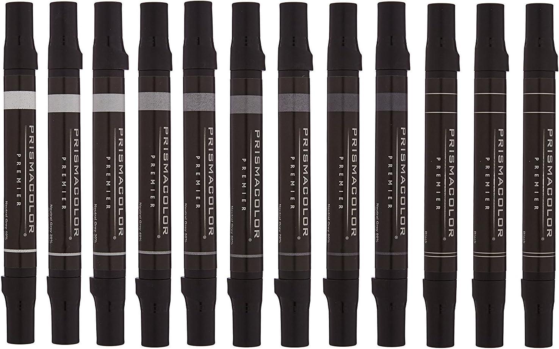Prismacolor Premier Double-Ended Art Markers 12 Chisel Tip Cool Grey Assorted